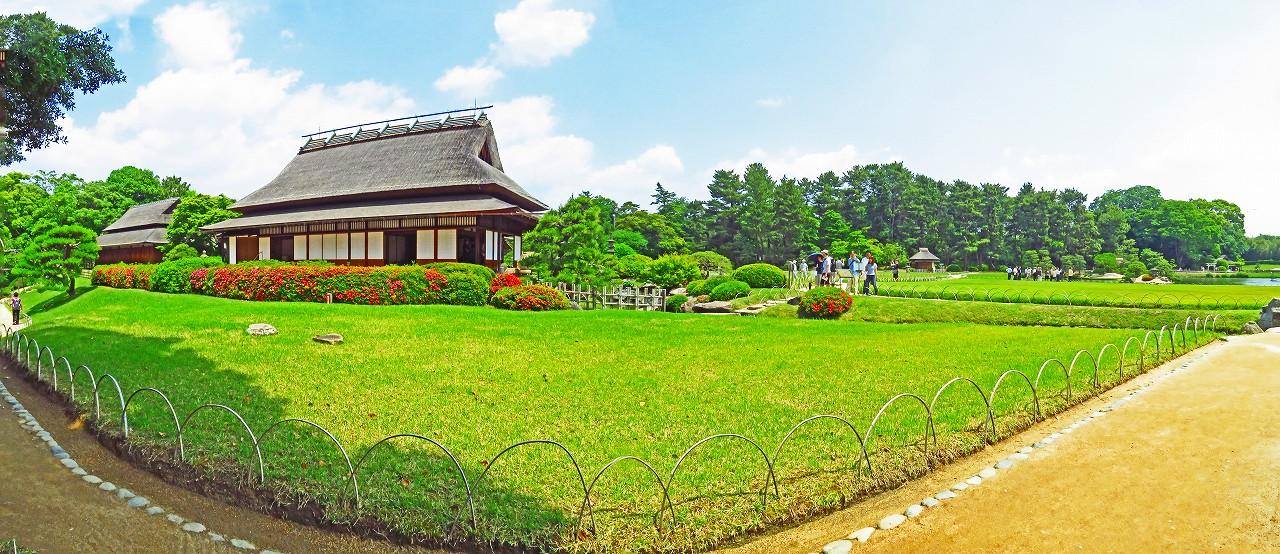 20170526 後楽園今日の園内初夏の延養亭特別公開中のワイド風景 (1)