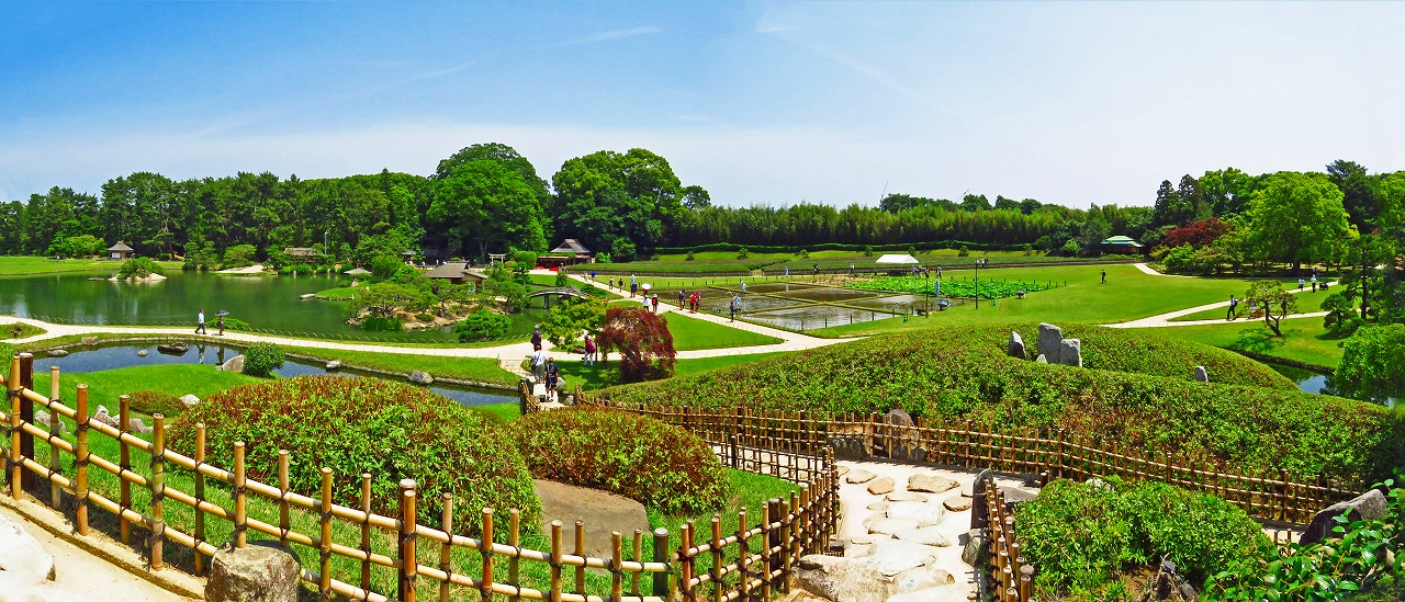 20170610 後楽園今日の唯心堂から眺めた園内ワイド風景 (1)