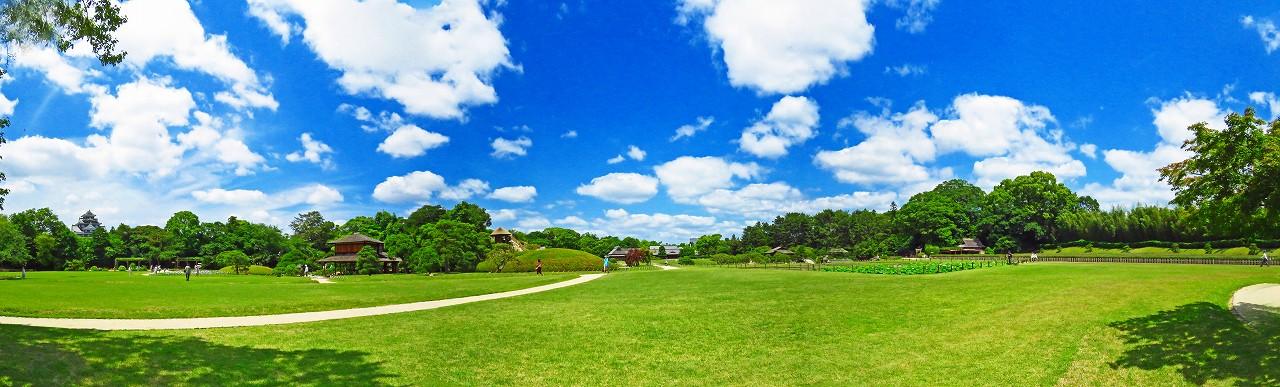 20170613 後楽園今日のイベント広場から眺めた空模様園内ワイド風景 (1)