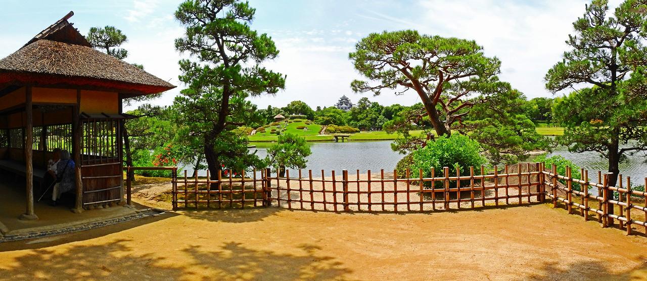 20170622 後楽園今日の観光定番位置から眺めた園内ワイド風景 (1)