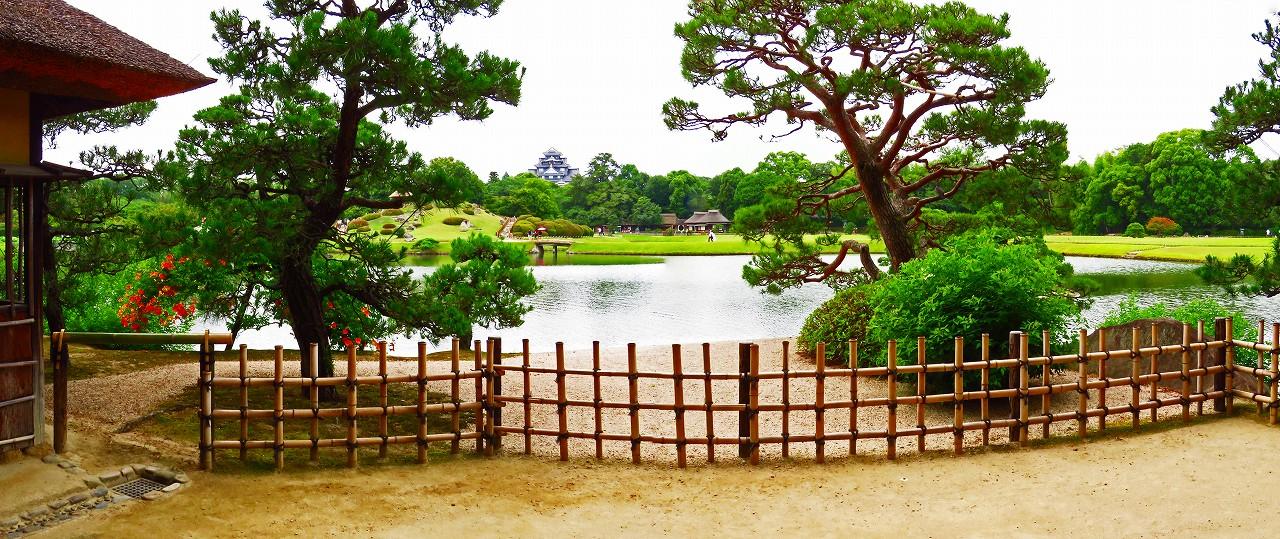 20170624 後楽園今日の観光定番位置から眺めた園内ワイド風景 (1)