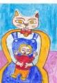 4少女を抱く猫マティス猫