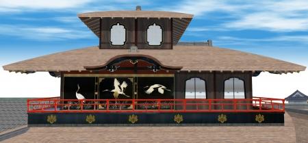 聚楽第の飛雲閣正面の鶴絵