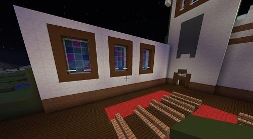 C建築教会壁のステンドグラス内装