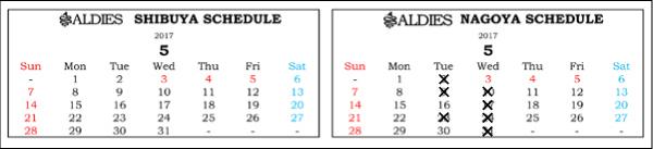 ブログ用営業日カレンダー2017年5月