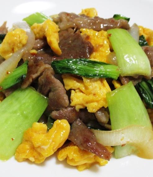 青梗菜と豚こまのピリ辛炒め 大