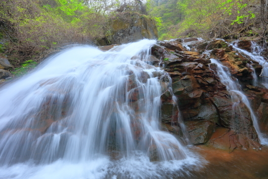 白糸の飛沫美しい渋川の滝