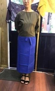 ブルー 巻きスカート