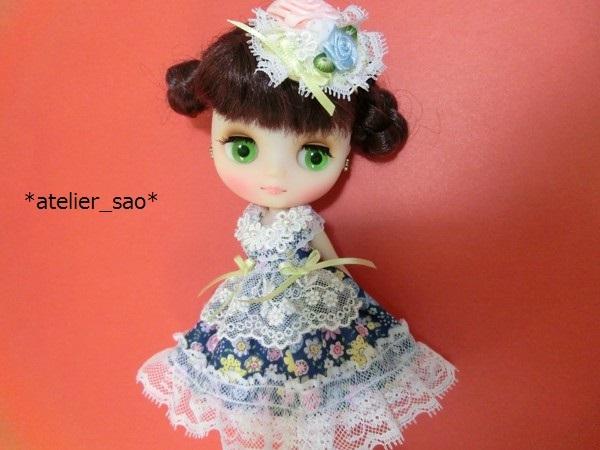 花柄の青ドレス◆ミディブライス1