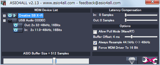 ASIO4ALL 2.13 WDM Device List Creative SB X-Fi Advanced Options