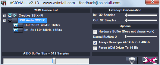 ASIO4ALL 2.13 USB Audio CODEC、Status : Idel、Advanced Options