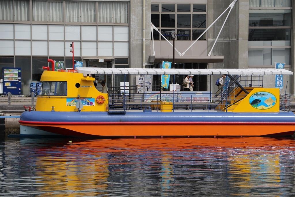 水中観光船『にじいろさかな号」が目の前に