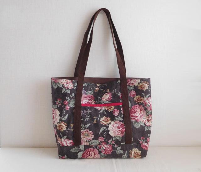 花柄 ショルダーバッグ 綿麻ブラウン