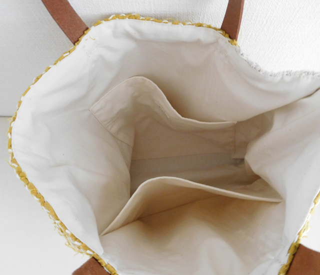裂き織りバッグ からし色×生成り