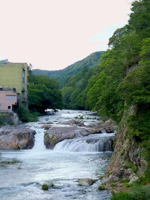 宇連川 上流側 つり橋から 2 2017 6 13 湯谷温泉 P1000147