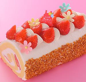 花いちごのロールケーキ
