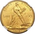 ヴィットリオ エマヌエレ3世  100リレ 1912(R) 豊穣の女神 MS62