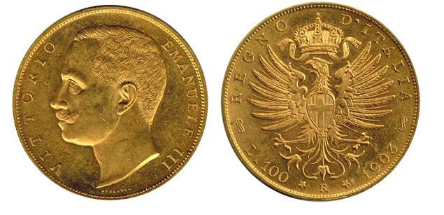 イタリア 100リラ金貨 エマヌエレ3世 1903年