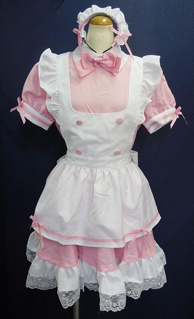 メイド服ピンク×白1