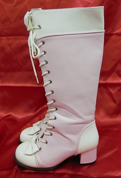 ブーツロングピンク白3