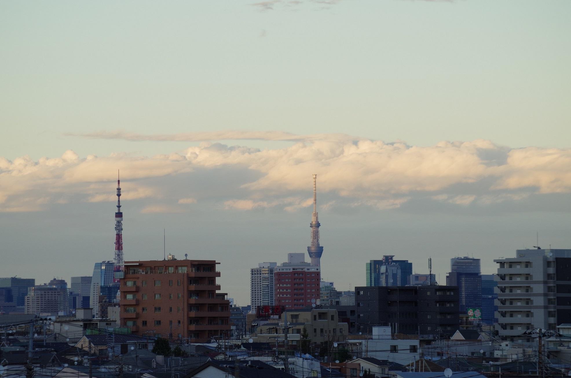 東工大本館の屋上 スカイツリーと東京タワーが同じ大きさに見える