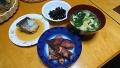 いかの煮物 サバの味噌煮 ほうれん草のお味噌汁 黒豆 20170513