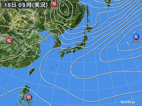 15日9:00の天気図