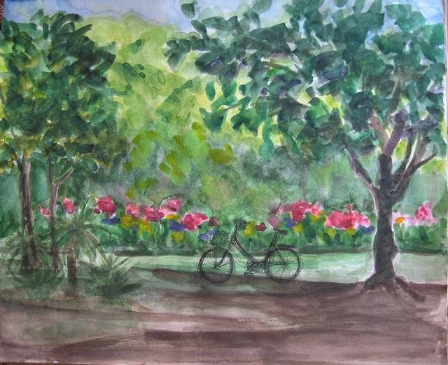 001薔薇園自転車