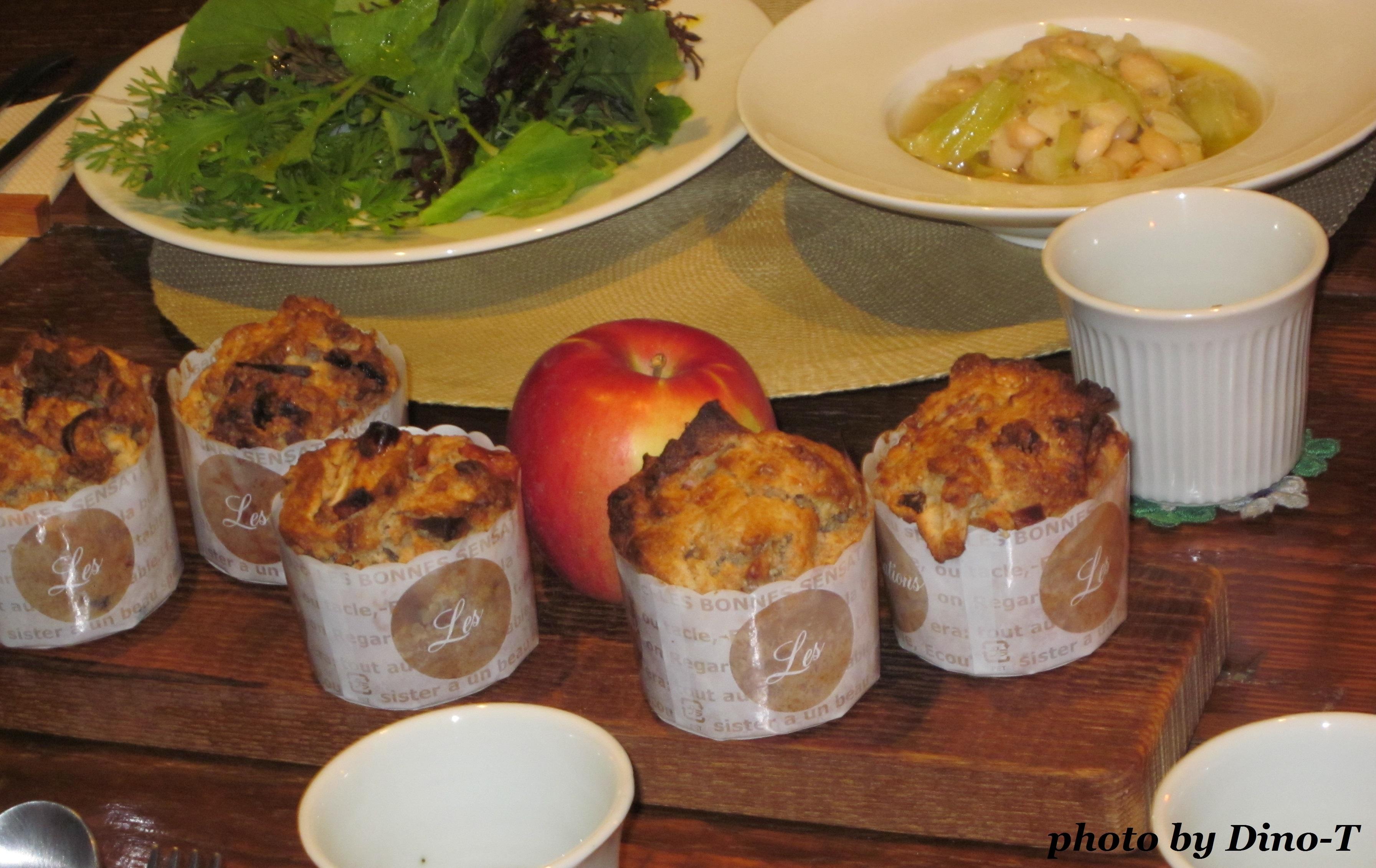 りんごのマフィンで朝食1