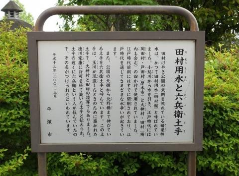 田村用水の案内板