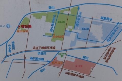 神奈川県営ほ場事業大田地区の揚水機場位置図