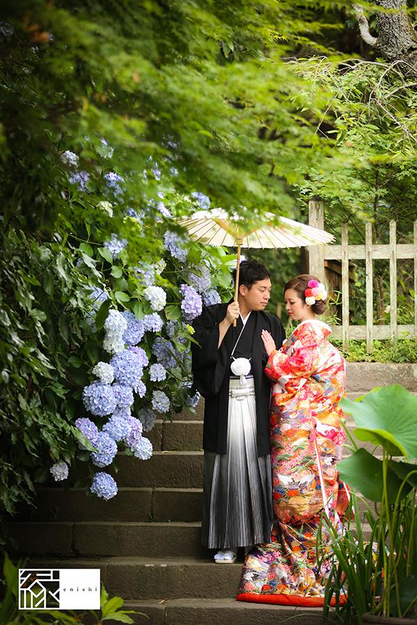 鎌倉紫陽花和装前撮り縁0101