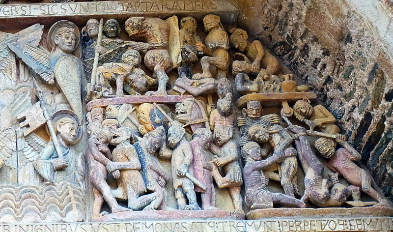 zz m「最後の審判」 右に地獄の有様を彫刻
