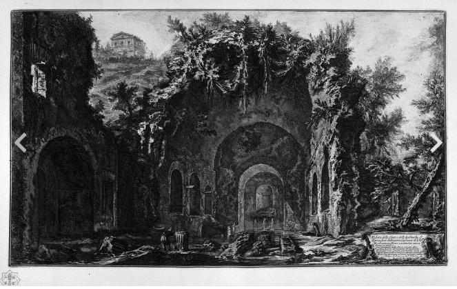 zz dp銅版画 Giovanni Battista Piranesi 崩れ去り草木が覆うローマの姿がともに印象に残り、人が構築したものの哀しさを感じる