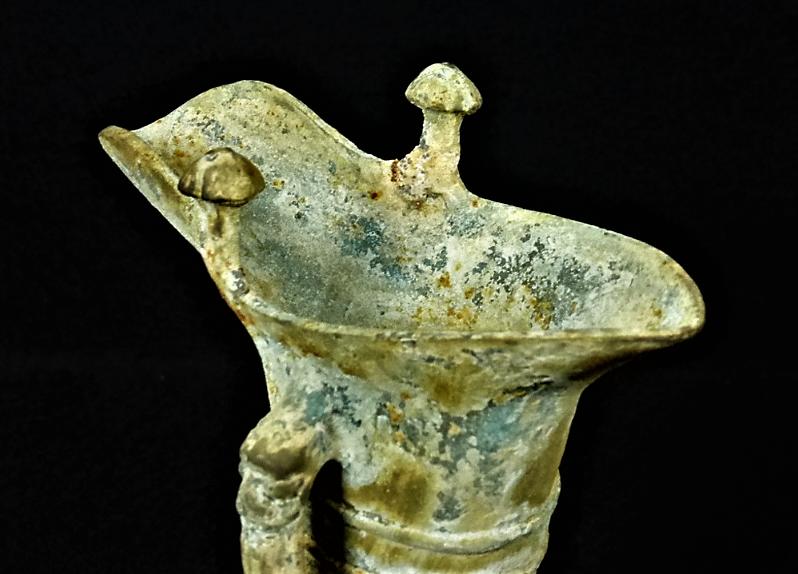 zzzz 青銅器 青銅爵a 酒器 発掘青銅器 h18.3 cm (2)