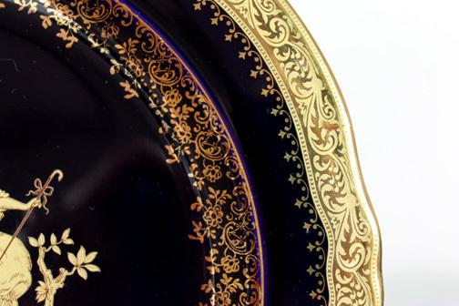 zzzzz li LIMOGES CASTEL★貴族図プレートb ★22K GOLD 金彩 瑠璃色 飾り皿 壁掛 d25 h2.5 cm