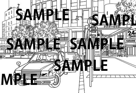 漫画背景素材「駅前タクシー乗り場」イラスト