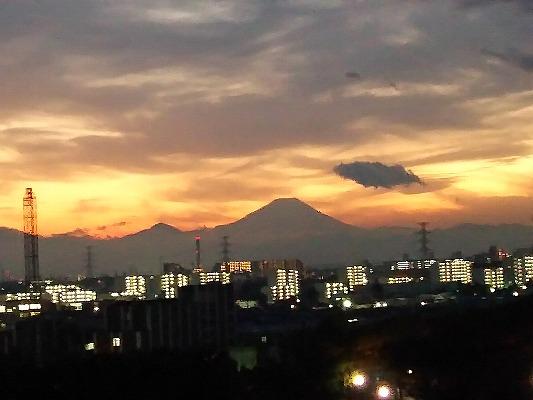 富士夕焼雲