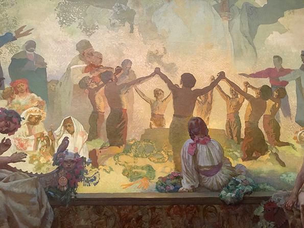 アルフォンス・マリア・ミュシャ「スラブ菩提樹の下でおこなわれるオムラジナ会の誓い」