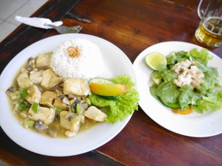 豆腐マッシュルーム、チキンサラダ
