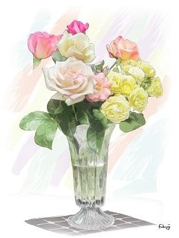 花瓶に生けたバラ-1