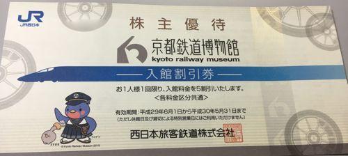 西日本旅客鉃道 京都鉄道博物館入館割引券