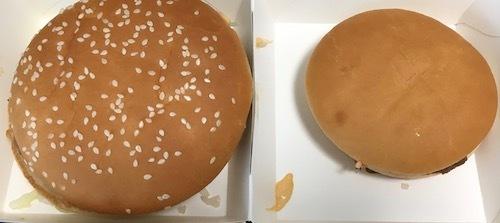 日本マクドナルド グランドビックマックとハンバーガーの比較