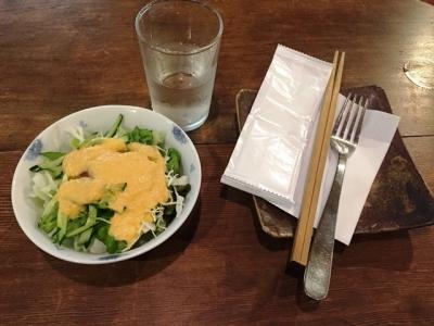 170302カフェ呂久呂カレートーストハーフ900円ドリンク付きのサラダ