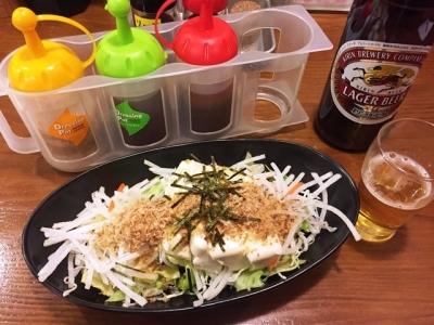 170315美濃路蒲郡店豆腐とジャコのヘルシーサラダ380円
