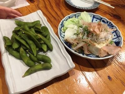 170320ひもの野郎梅田店しらす豆腐と黒枝豆