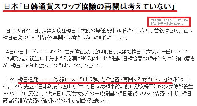 日本「チョン国との通貨スワップは考えていない」