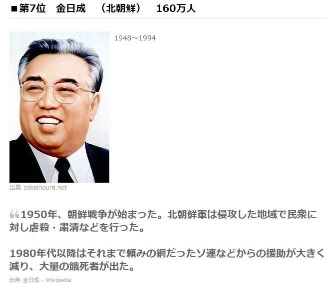 世界第7位の大量殺戮者金日成