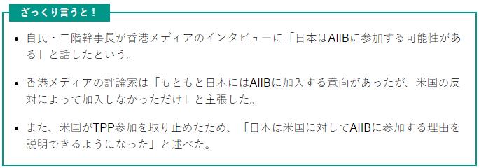 二階「日本はAIIBに参加するかも」