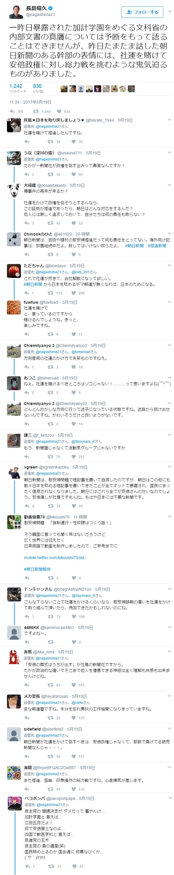 ミン死党長島昭久「チョウニチ新聞が社運をかけて倒閣運動する」